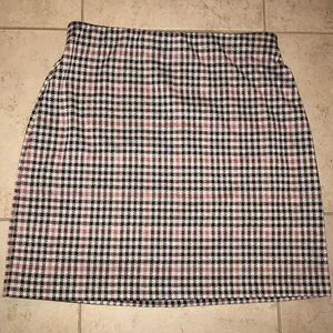 Pink/checked short jersey skirt